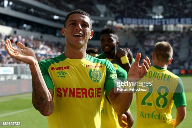 Diego Carlos of FC Nantes reacts after the goal of Nuimbe Nakoulma during the Ligue 1 match between FC Girondins de Bordeaux and FC Nantes at Stade...