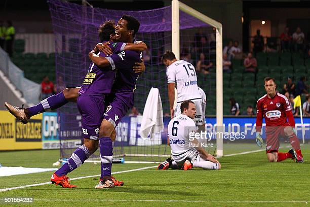 Diego Castro and Jamal Reiners of the Glory celebrate a goal during the round five ALeague match between the Perth Glory and Melbourne Victory at nib...