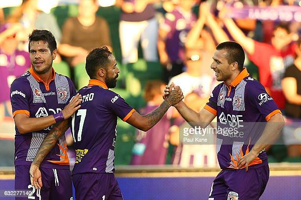 Diego Castro and Nebojsa Marinkovic of the Glory celebrate after winning the round 16 ALeague match between Perth Glory and Melbourne Victory at nib...