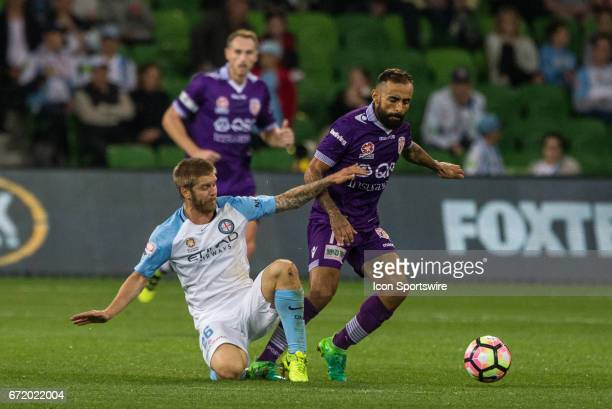 Diego Castro of Perth Glory and Luke Brattan of Melbourne City contest the ball during the Elimination Round of the Hyundai ALeague Finals Series...