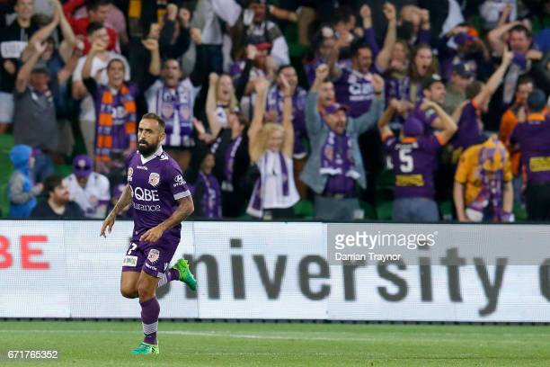 Diego Castro of Perth Glory celebrates a goal during the ALeague Elimination Final match between Melbourne City FC and the Perth Glory at AAMI Park...
