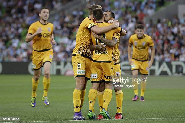 Diego Castro of Perth Glory celebrates a goal during the round 12 ALeague match between Melbourne City and Perth Glory at AAMI Park on December 27...