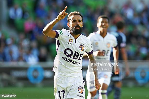 Diego Castro of Perth Glory celebrates his goal during the round 12 ALeague match between Melbourne Victory and Perth Glory at AAMI Park on December...