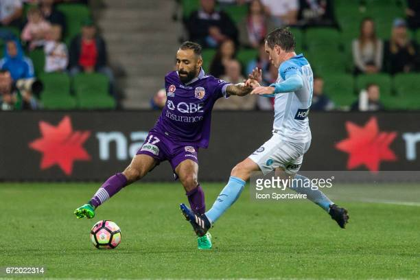 Diego Castro of Perth Glory controls the ball in front of Neil Kilkenny of Melbourne City during the Elimination Round of the Hyundai ALeague Finals...
