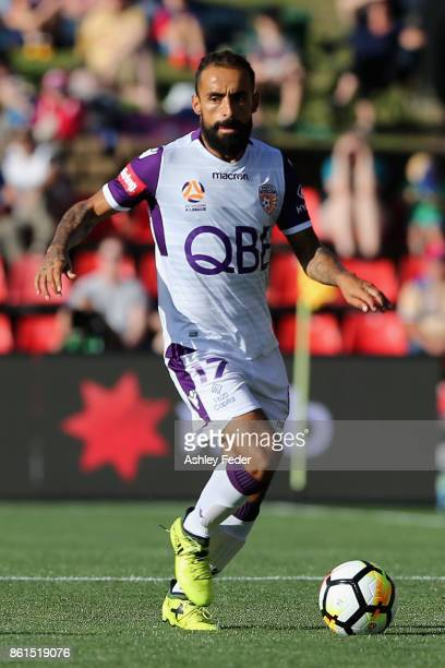 Diego Castro of Perth Glory during the round two ALeague match between the Newcastle Jets and Perth Glory at McDonald Jones Stadium on October 15...