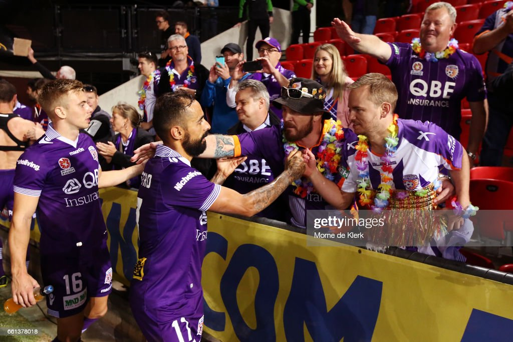 Diego Castro of Perth Glory greets spectators after the round 25 A-League match between Adelaide United and Perth Glory at Coopers Stadium on March 31, 2017 in Adelaide, Australia.