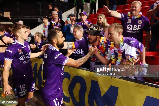Diego Castro of Perth Glory greets spectators after the round 25 ALeague match between Adelaide United and Perth Glory at Coopers Stadium on March 31...