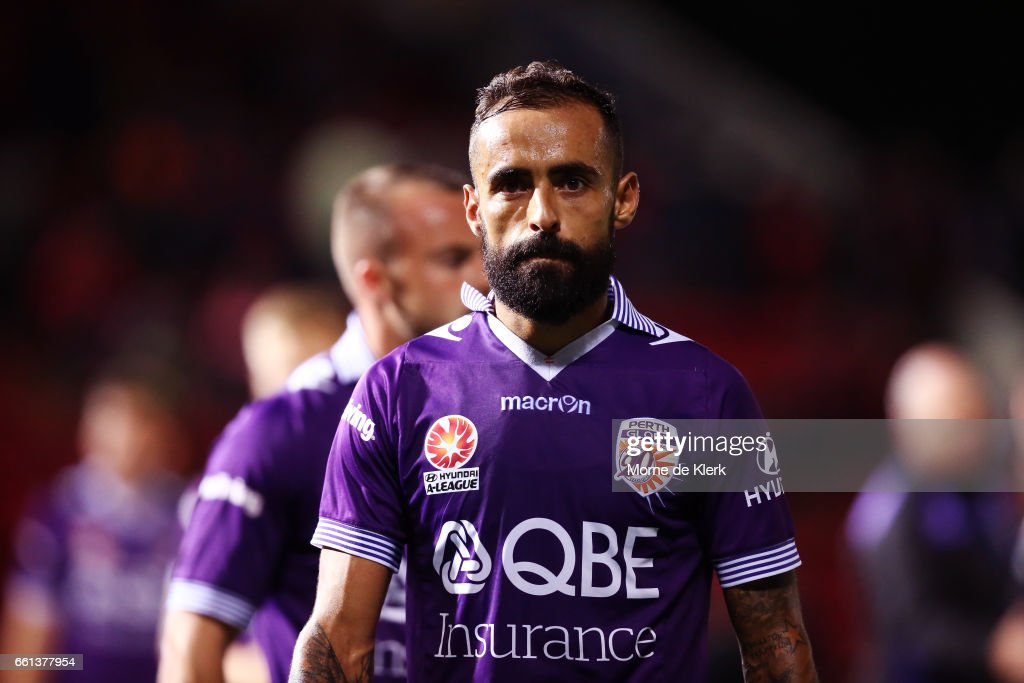 Diego Castro of Perth Glory looks on after the round 25 A-League match between Adelaide United and Perth Glory at Coopers Stadium on March 31, 2017 in Adelaide, Australia.