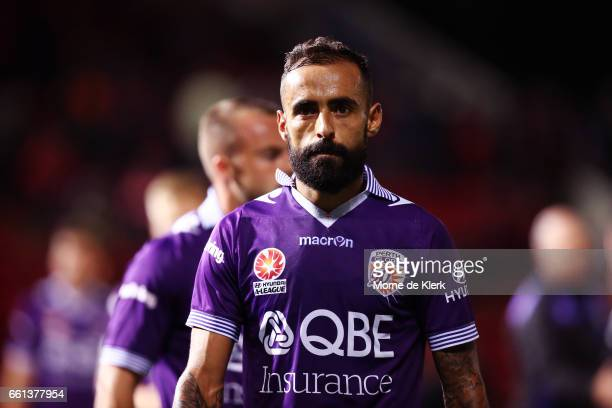 Diego Castro of Perth Glory looks on after the round 25 ALeague match between Adelaide United and Perth Glory at Coopers Stadium on March 31 2017 in...