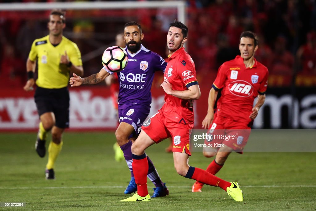 Diego Castro of Perth Glory passes the ball forward during the round 25 A-League match between Adelaide United and Perth Glory at Coopers Stadium on March 31, 2017 in Adelaide, Australia.