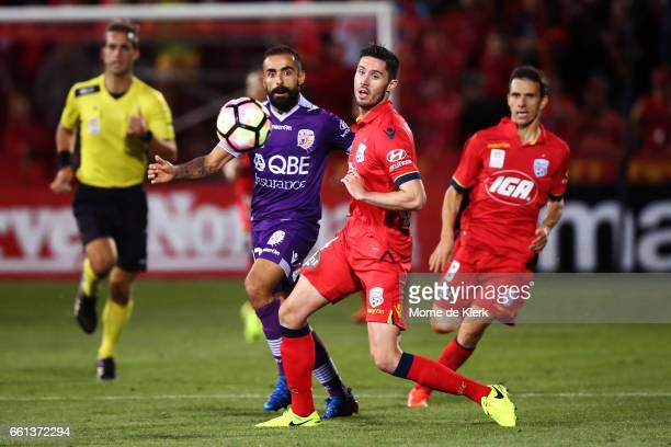 Diego Castro of Perth Glory passes the ball forward during the round 25 ALeague match between Adelaide United and Perth Glory at Coopers Stadium on...