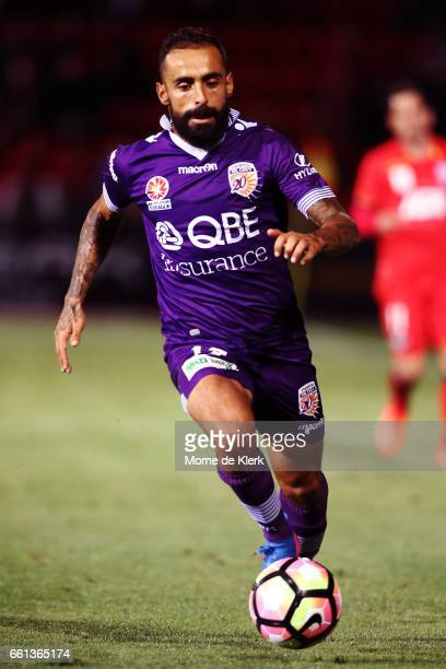 Diego Castro of Perth Glory runs with the ball during the round 25 ALeague match between Adelaide United and Perth Glory at Coopers Stadium on March...