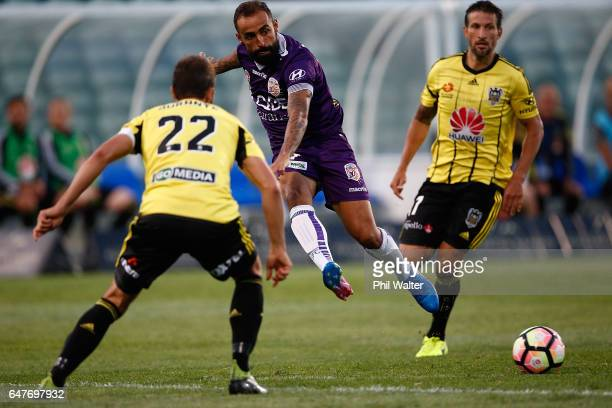 Diego Castro of Perth passes during the round 22 ALeague match between the Wellington Phoenix and the Perth Glory at QBE Stadium on March 4 2017 in...