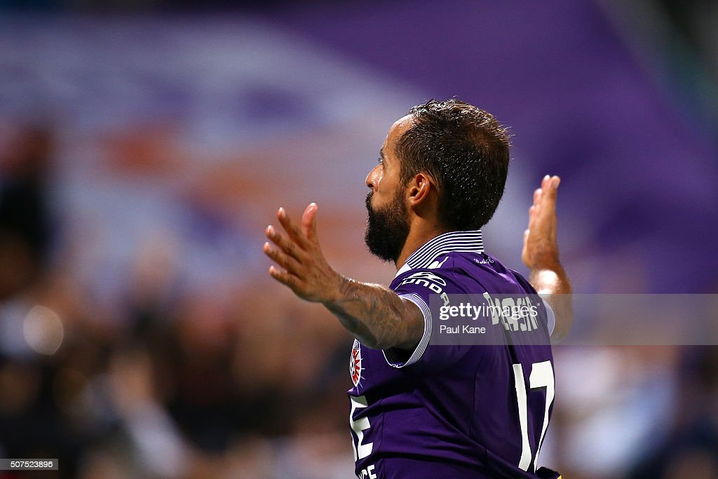 Diego Castro of the Glory celebrates a goal from a penalty kick during the round 17 A-League match between Perth Glory and Melbourne Victory at nib Stadium on January 30, 2016 in Perth, Australia.