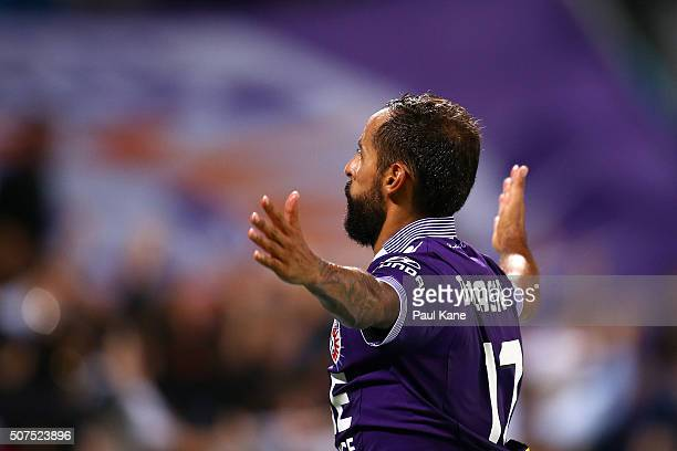Diego Castro of the Glory celebrates a goal from a penalty kick during the round 17 ALeague match between Perth Glory and Melbourne Victory at nib...