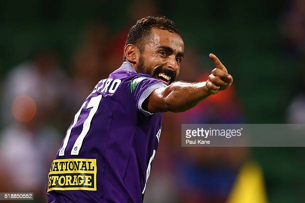 Diego Castro of the Glory celebrates after scoring during the round 26 ALeague match between the Perth Glory and Melbourne City FC at nib Stadium on...