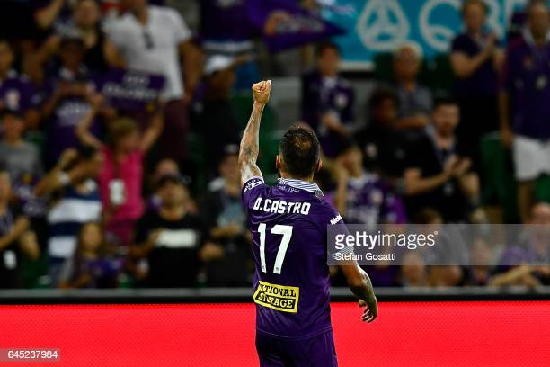 Diego Castro of the Glory celebrates after winning the round 21 ALeague match between the Perth Glory and Western Sydney Wanderers at nib Stadium on...