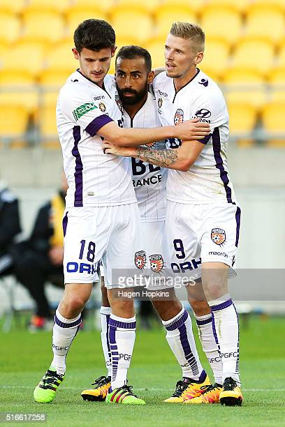 Diego Castro of the Glory celebrates his goal with Mitchell Oxborrow and Andy Keogh during the round 24 ALeague match between the Wellington Phoenix...