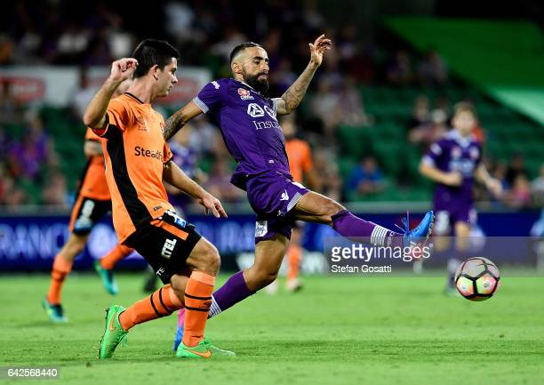 Diego Castro of the Glory contests the ball during the round 20 ALeague match between Perth Glory and Brisbane Roar at nib Stadium on February 18...