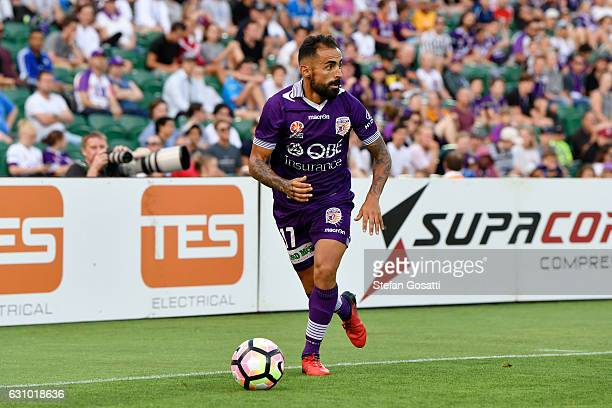 Diego Castro of the Glory controls the ball during the round 14 ALeague match between the Perth Glory and the Wellington Phoenix at nib Stadium on...