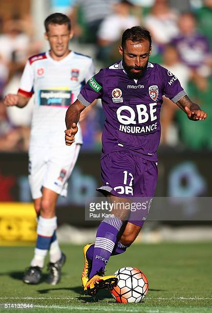 Diego Castro of the Glory controls the ball during the round 22 ALeague match between the Perth Glory and the Newcastle Jets at nib Stadium on March...