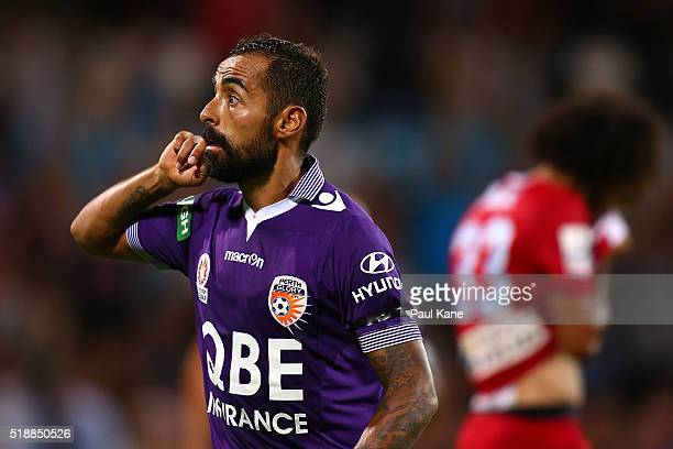 Diego Castro of the Glory gestures to the shed after scoring during the round 26 ALeague match between the Perth Glory and Melbourne City FC at nib...