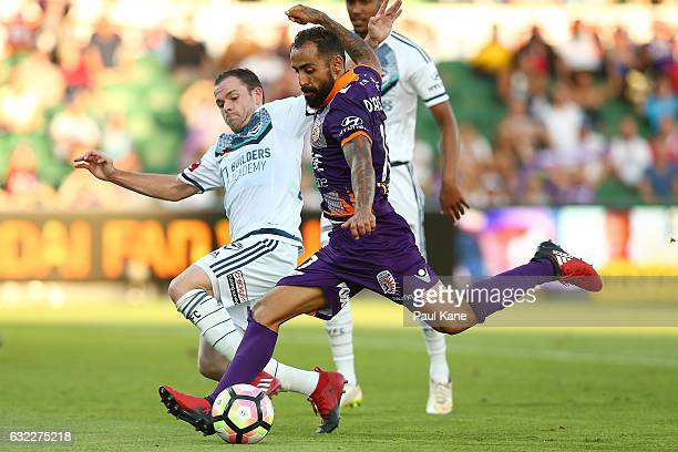 Diego Castro of the Glory has a shot on goal during the round 16 ALeague match between Perth Glory and Melbourne Victory at nib Stadium on January 21...