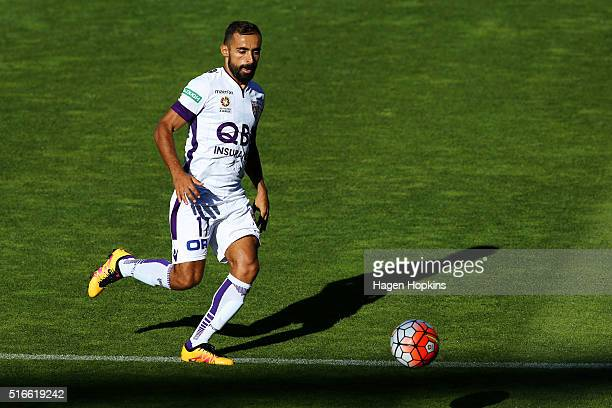 Diego Castro of the Glory in action during the round 24 ALeague match between the Wellington Phoenix and the Perth Glory at Westpac Stadium on March...