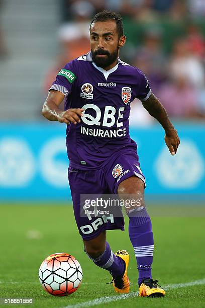 Diego Castro of the Glory keeps the ball in play during the round 26 ALeague match between the Perth Glory and Melbourne City FC at nib Stadium on...