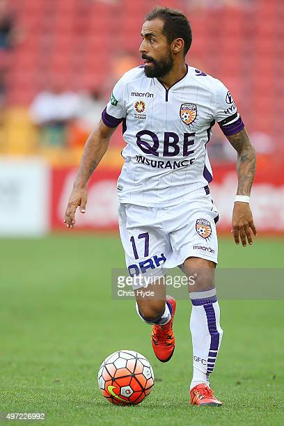 Diego Castro of the Glory kicks during the round six ALeague match between Brisbane Roar and Perth Glory at Suncorp Stadium on November 15 2015 in...
