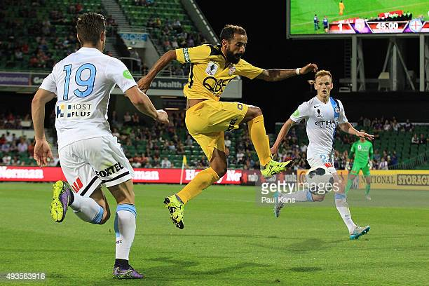 Diego Castro of the Glory looks to trap the ball during the FFA Cup Semi Final match between Perth Glory and Melbourne City FC at nib Stadium on...