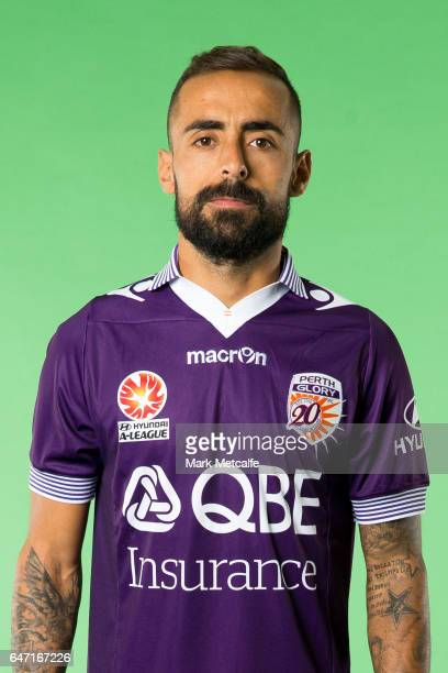 Diego Castro of the Glory poses during the Perth Glory 2016/17 ALeague headshots session at Fox Sports Studios on September 21 2016 in Sydney...