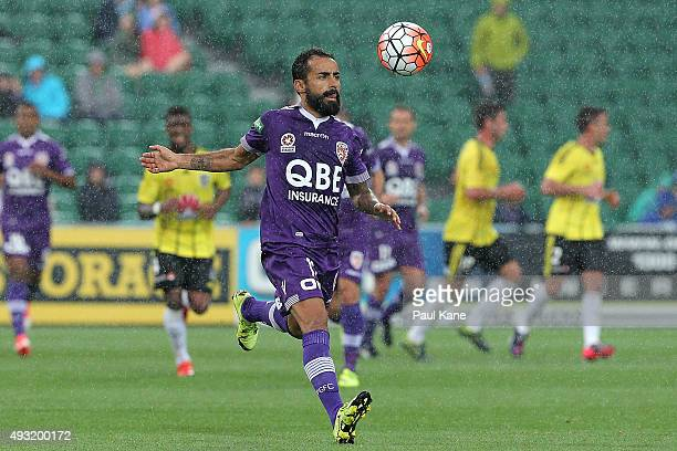 Diego Castro of the Glory runs onto the ball during the round two ALeague match between the Perth Glory and Wellington Phoenix at nib Stadium on...