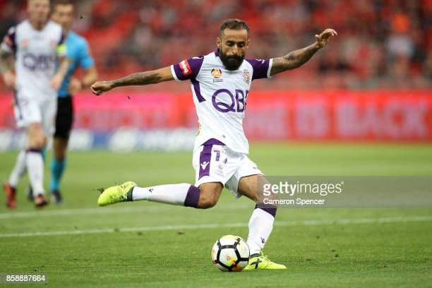 Diego Castro of the Glory strikes the ball during the round one ALeague match between the Western Sydney Wanderers and the Perth Glory at Spotless...