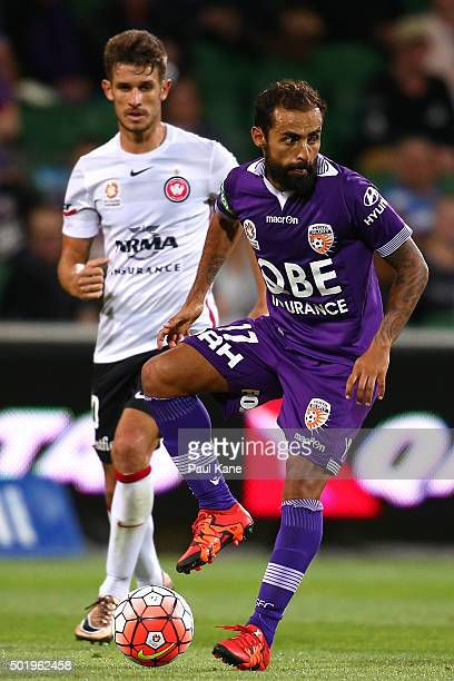 Diego Castro of the Glory traps the ball during the round 11 ALeague match between the Perth Glory and the Western Sydney Wanderers at nib Stadium on...