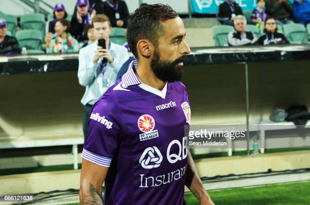 Diego Castro of the Glory walks on during the round 26 ALeague match between the Perth Glory and Brisbane Roar at nib Stadium on April 8 2017 in...