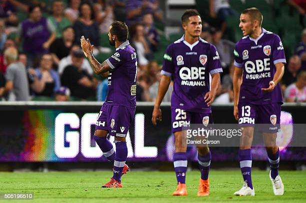 Diego Castro of the Perth Glory thanks the crowd after scoring a goal during the round 15 ALeague match between Perth Glory and Melbourne City FC at...