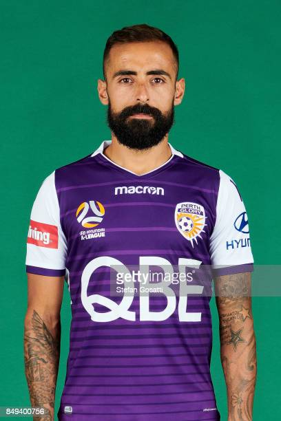 Diego Castro poses during the Perth Glory 2017/18 ALeague season headshots session on September 15 2017 in Perth Australia