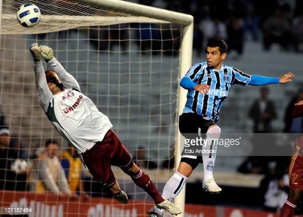 Diego Cavalieri goalkeeper of Fluminenese stops a shot by Andre Lima from gremio during match between Gremio and Fluminense as part of the sixteenth...