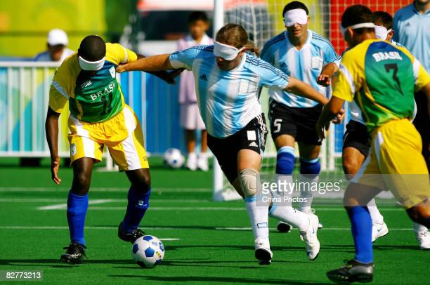 Diego Cerega of Argentina competes in the FiveASide Football match between Argentina and Brazil at Olympic Green Hockey Field B during day five of...