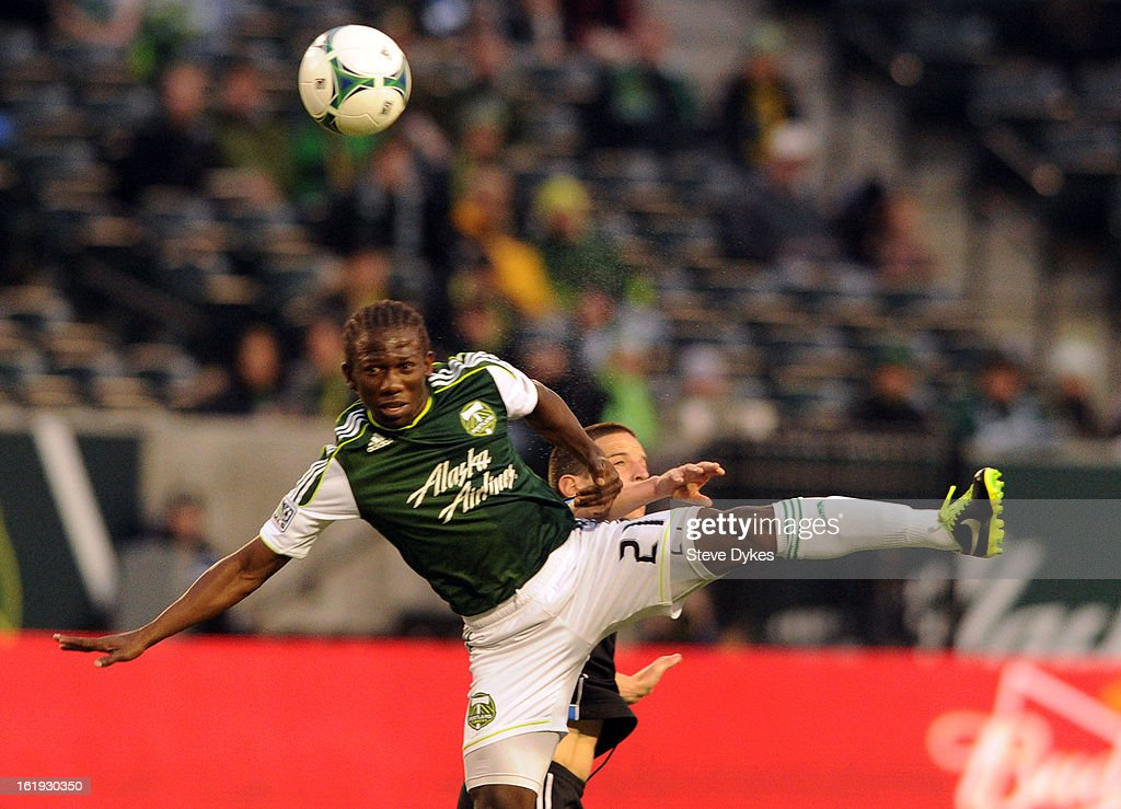 Diego Chara #21 of Portland Timbers goes up for a ball during the first half of the game against the San Jose Earthquakes at Jeld-Wen Field on February 17, 2013 in Portland, Oregon.