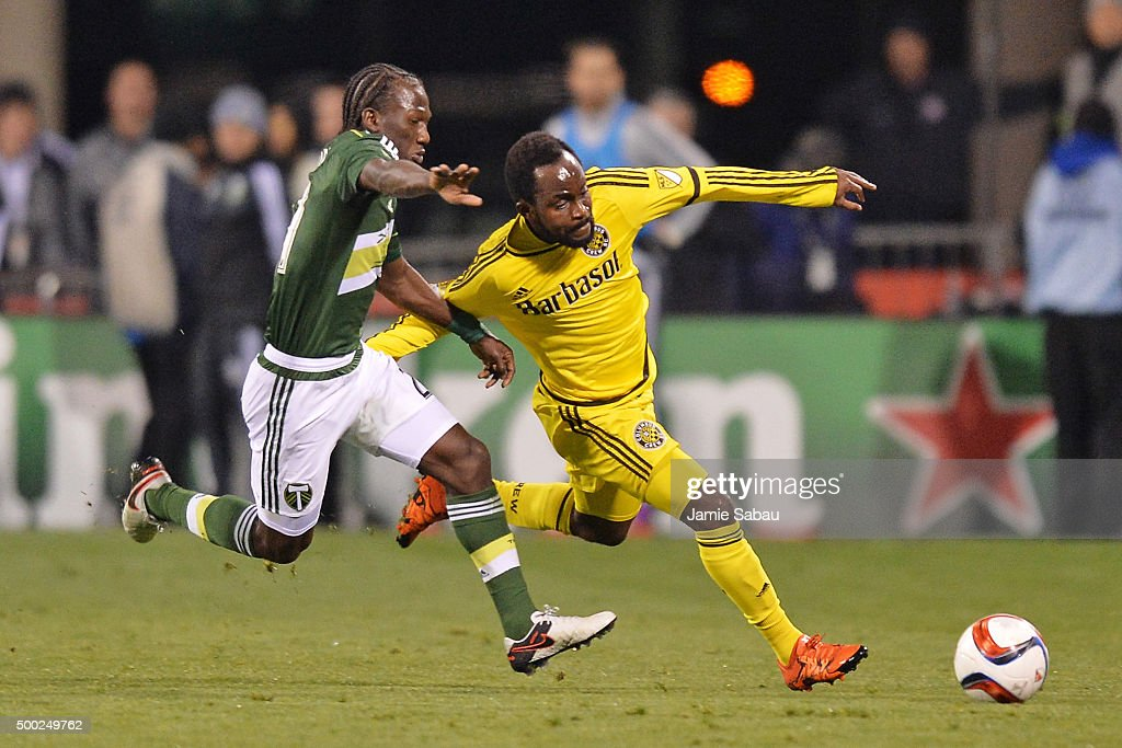 Diego Chara #21 of the Portland Timbers and Cedrick Mabwati #11 of the Columbus Crew SC battle for control of the ball in the second half on December 6, 2015 at MAPFRE Stadium in Columbus, Ohio. Portland defeated Columbus Crew SC 2-1 to claim the MLS Cup title.