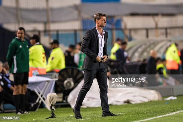 NOVEMBER 01 Diego Cocca manager of Racing during the Copa Sudamericana quarterfinals 2nd leg match between Racing Club de Avellaneda and Club...