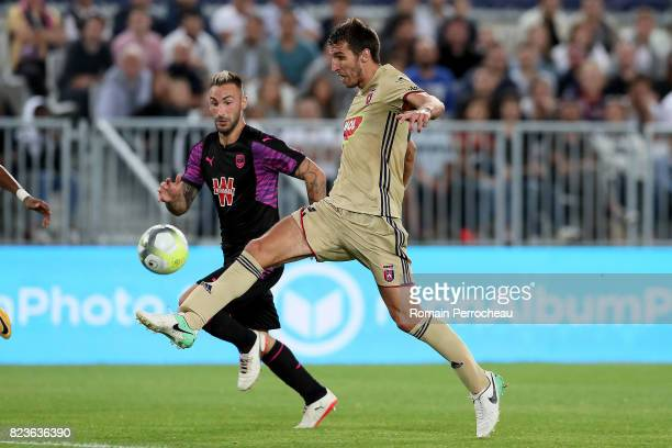 Diego Contento of Bordeaux and Marko Scepovic of Videoton in action during the UEFA Europa League qualifying match between Bordeaux and Videoton at...