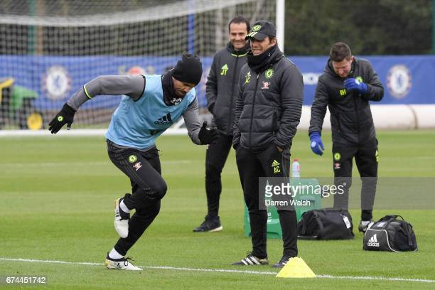 Diego Costa and Antonio Conte of Chelsea during a training session at Chelsea Training Ground on April 28 2017 in Cobham England