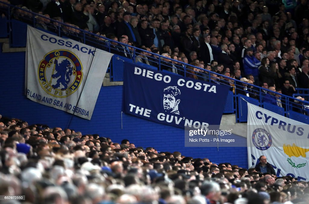 A Diego Costa banner during the Emirates FA Cup, Quarter Final match at Stamford Bridge, London.