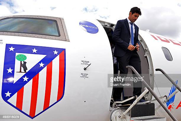 Diego Costa of Athletico Madrid arrives at Lisbon airport prior to the UEFA Champions League Final between Real Madrid and Athletico Madrid at...