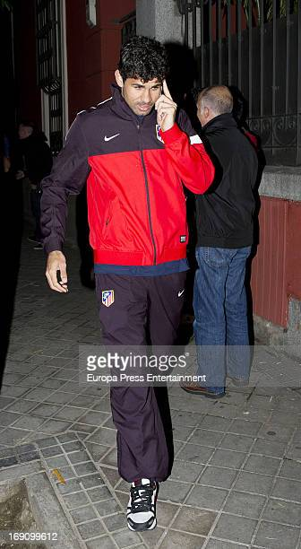 Diego Costa of Atletico de Madrid celebrate winning the Spanish King's Cup after beating Real Madrid at Fortuny Nightclub on May 17 2013 in Madrid...