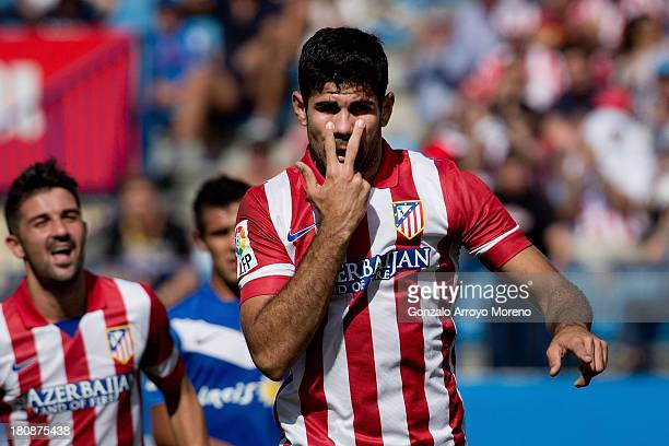 Diego Costa of Atletico de Madrid celebrates scoring their second goal during the La Liga match between Club Atletico de Madrid and UD Almeria at...