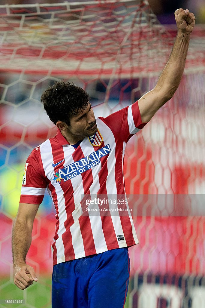 Diego Costa of Atletico de Madrid celebrates scoring their second goal during the La Liga match between Club Atletico de Madrid and Elche FC at Vicente Calderon Stadium on April 18, 2014 in Madrid, Spain.